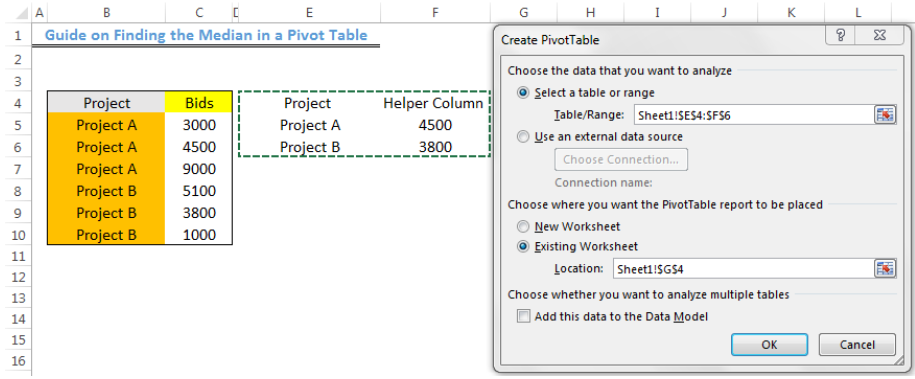 Guide on finding the median in a pivot table screen shot.