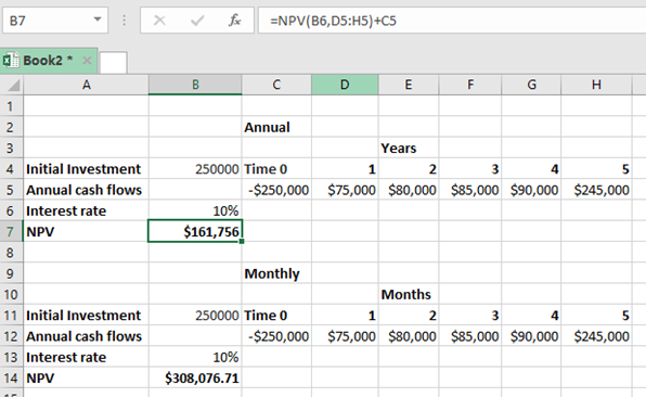 the difference between annual vs  monthly npv in excel