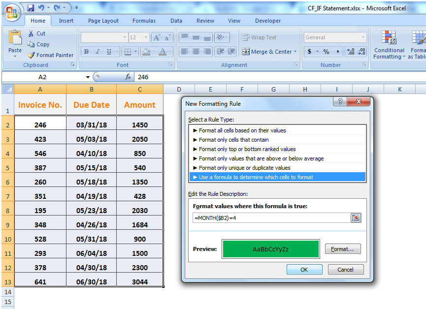 Conditional formatting for words