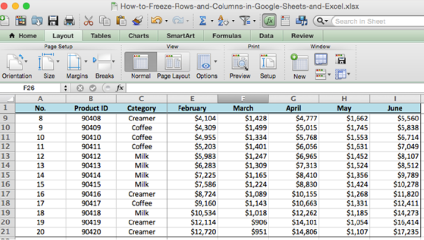 How to Freeze Rows and Columns in Google Sheets and Excel | Excelchat
