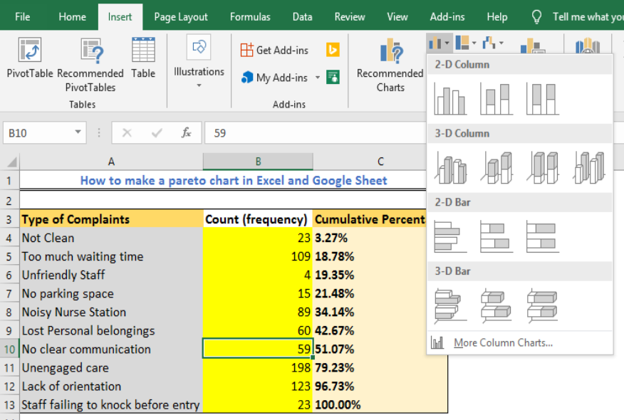 How to make a Pareto Chat in Excel and Google Sheet | Excelchat
