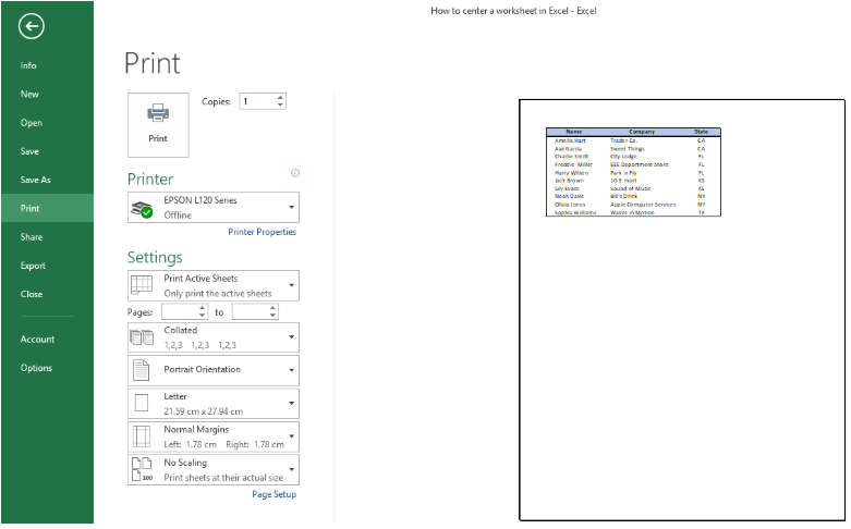 How to center a worksheet in Excel | Excelchat