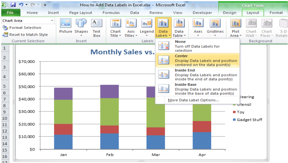 How to Add Data Labels in Excel - Excelchat | Excelchat