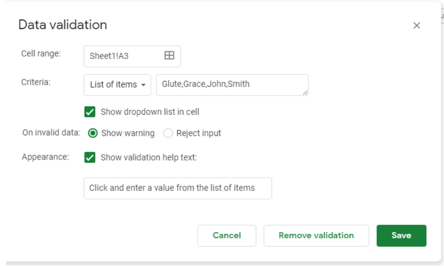How to add, edit and create drop-down lists in Google Sheets
