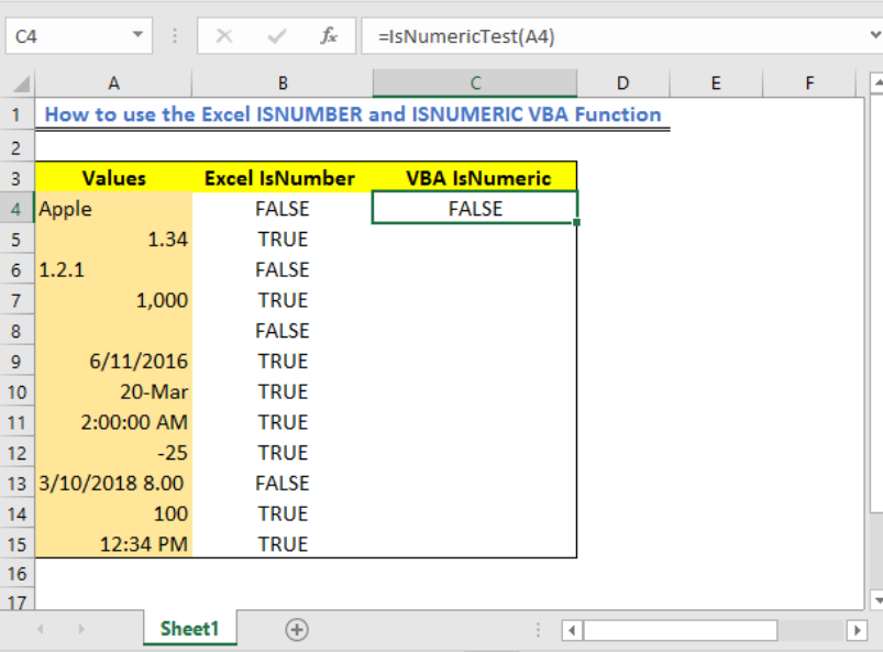 How To Use The Excel Isnumber And Isnumeric Vba Function Excelchat