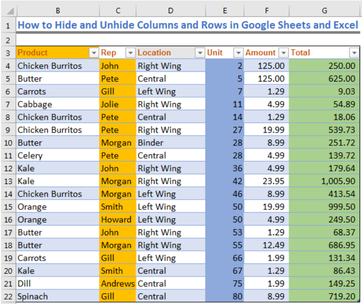How To Hide And Unhide Columns And Rows In Google Sheets