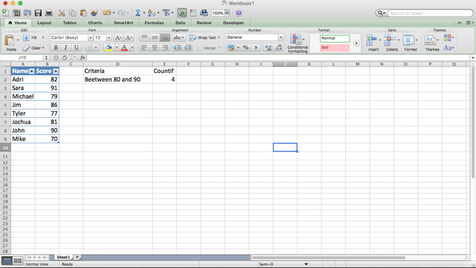 How to Use the COUNTIF Function to Count Cells Between Two Numbers
