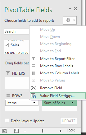 The Procedure for Calculating a Percentage in a Pivot Table