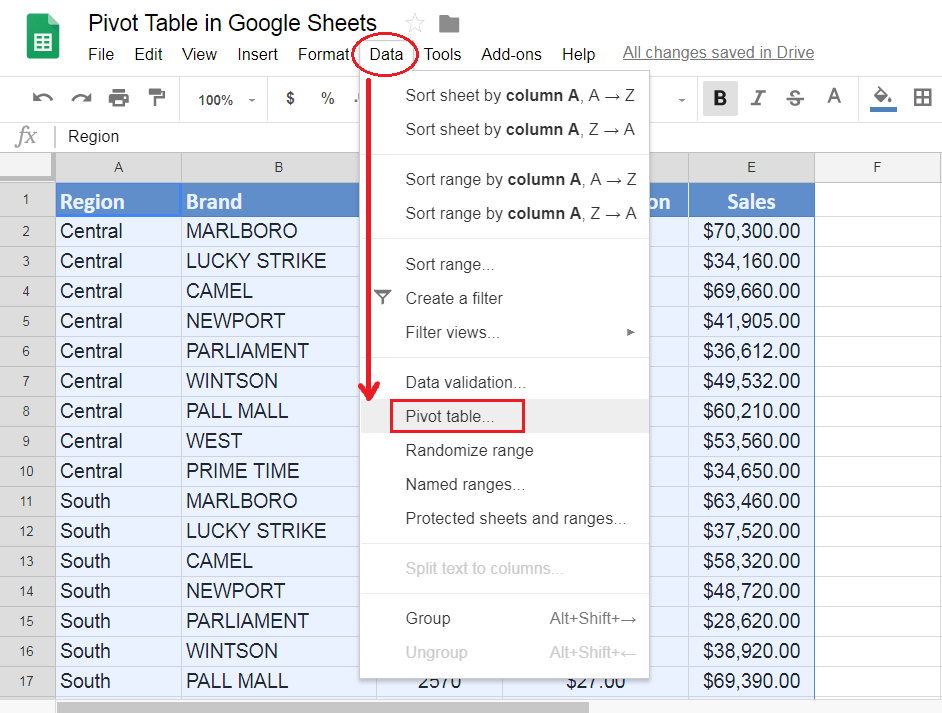 Google sheet with Data tab open.
