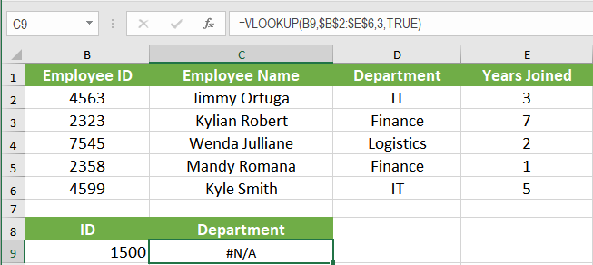 Handling an #N/A Error When Using VLOOKUP | Excelchat