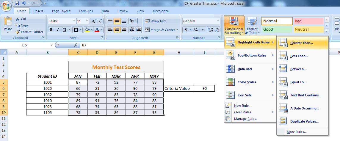 Excel program displaying highlight cells rules popup box.